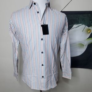 NWT Jared Lang Button Up Striped Shirt